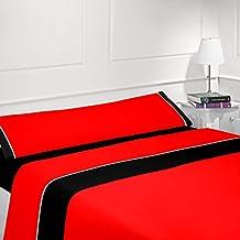 CABELLO TEXTIL HOGAR - Juego de sábanas Lisas Bicolor 3 Piezas Microfibra (Rojo/Negro
