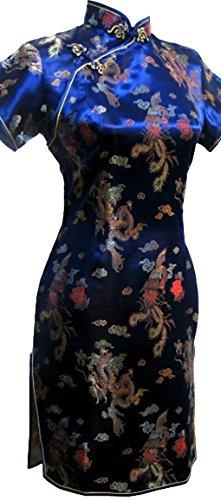 Dress Phoenix Kostüm Fancy - Kurzes Abendkleid mit Drachen- & Phoenix-Muster, Chinesisches Design, Minikleid für Party, Cheongsam Qipao, marineblau, Mini, blau
