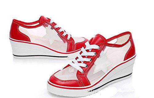 Wealsex Damen Sneakers Keilabsatz Schnürhalbschuhe Sommer Atmungsaktiv Mesh Schnürsenkel Wedges Sportschuhe mit Fünf-spitzer Stern Rot