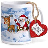 TIED RIBBONS Santa & Deer Printed Coffee Mug(320 ml) with Wooden Tag Christmas Christmas Gift Set for Friends, Family, Secret Santa Gift and Home Decoration Office Decoration