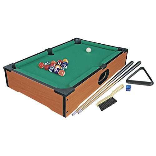 Wooden Table Top Pool Table Billiards Snooker Family Fun Game - Complete with 15 Balls, Cue Ball, 2x Cues, Chalk, Cloth Brush and Triangle - 50 x 30 cm ()