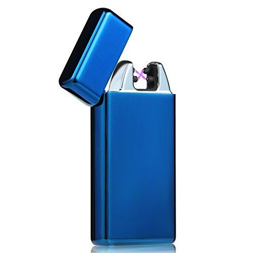 Kivors Encendedor Electronico, USB Mechero Electronico Recargable de Doble Arco Pulsado Cruz Sin Llama Resistente Al Viento