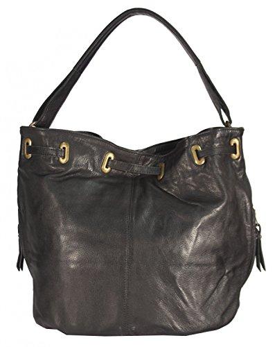 Raccano - große Leder Schultertasche Hobobag Shopper MEDITERRAN URBAN BAG Damen Handtaschen Henkeltaschen Beuteltasche 44x32x21 cm (B x H x T), Farbe:Mahogany Braun schwarz