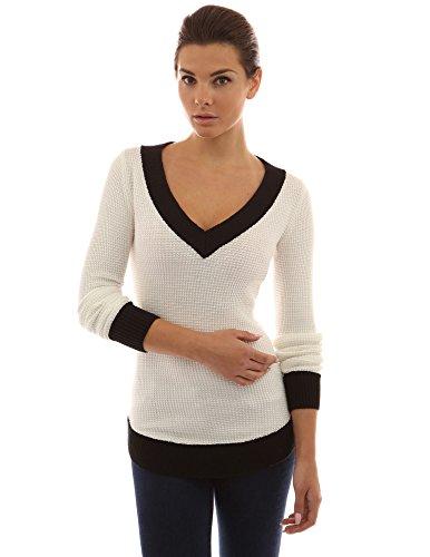 PattyBoutik Donne v maglione color block collo (off-white e nero 44)