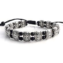 AT007 - Agathe Creation - Bracelet tibetain porte bonheur - Argent tibétain - Perles d'onyx noire - Argenté - Taille sur mesure - Fait main