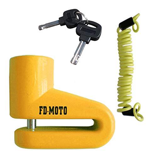 FD-MOTO Candado para Discos de Freno de Motocicleta de 5,5mm Pin Amarillo + Libre 1,4m Recordatorio Cable