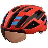 Flowerrs Casco Scooter Casco de Bicicleta para Adultos con Gafas de Montar Desmontables Casco de Montar de una Pieza (Rojo + Negro + Azul) Skate Helmet