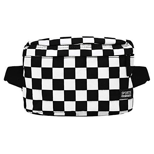 Sherry Karomuster Bauchtasche aus Segeltuch für Outdoor-Reisen, Crossbody-Tasche, (schwarz/weiß), Einheitsgröße