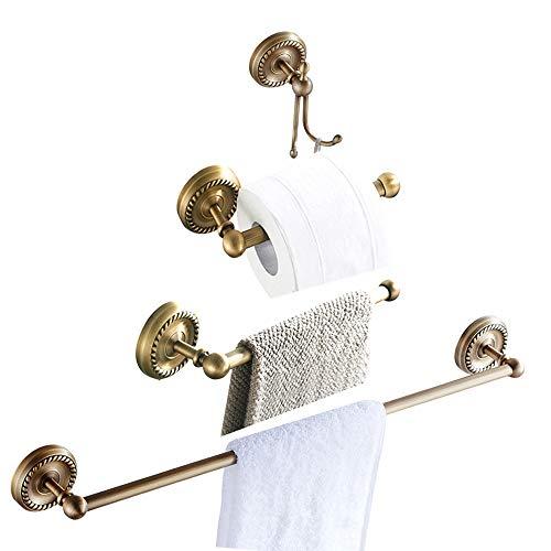 Womao set di accessori per il bagno di 4 pezzi, compreso porta asciugamani portasciugamani porta carta igienica, installazione in ottone a parete installazione nascosta stile retrò antico