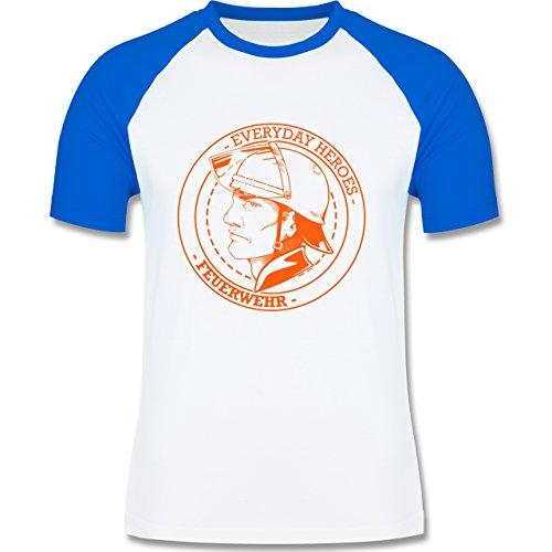 Feuerwehr - Everyday Heroes badge - zweifarbiges Baseballshirt für Männer Weiß/Royalblau