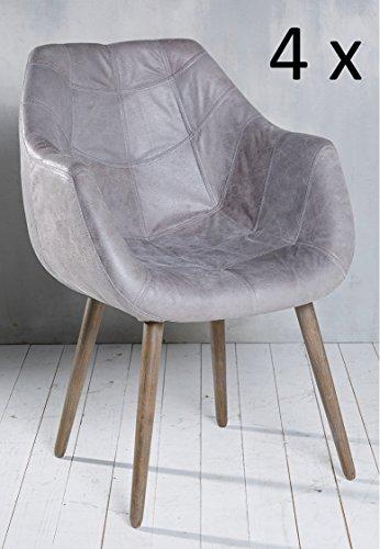 4x Armlehnenstuhl Stuhl Leder Grau mit Holzbeinen Esszimmerstuhl Echtleder Esszimmersessel Designstuhl Loungesessel Sessel Retro Look