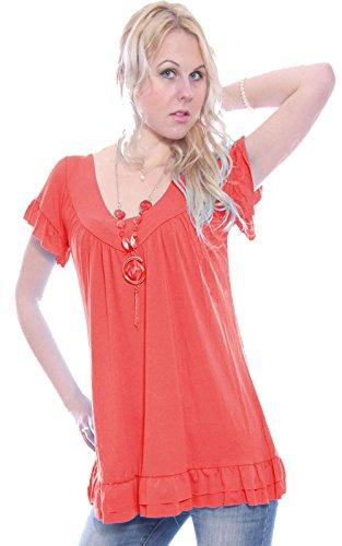 Vestito da donna a tunica con collana in stile gitano, a maniche corte, collo a V, per taglie abbondanti (44 – 62) Coral