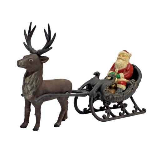 Design Toscano SP248 Décorations de Noël - Père Noël sur Sleigh avec Renne de Noël Die fonte Statue décor de vacances