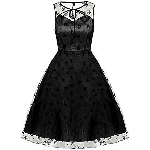 ZEARO Vestido para Mujer de Clásico Elegante Retro Seda O Cuello Vestido de Coctel