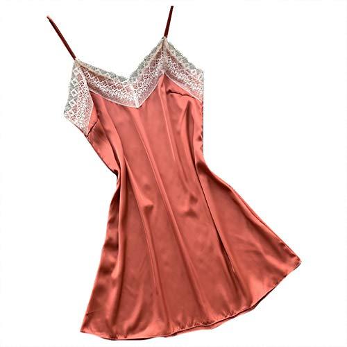 LOPILY Damen Reizwäsche Nachtwäsche Dessous Zweiteilig Sleepwear Pyjama Set Schlafanzug Spitzen Applikation Nachthemd Sling Negligee Underwear(X1-Orange,2XL)