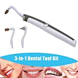 Multifunction Sonic Vibration Tooth Stain Eraser LED Dental Tool Kit for Oral Hygiene and Care (Tooth Stain Eraser + Plaque Remover 3 Heads)