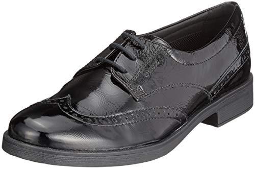 Geox Jr Agata D, Zapatos de Cordones Brogue para Niñas, Negro, 29 EU