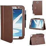 Techgear Étui portefeuille en similicuir pour Samsung Galaxy Note 8.0 N5100/N5110 avec support de visionnage/de frappe  - marron