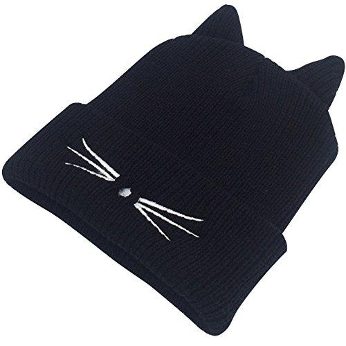 Cappello lavorato a maglia, cappellino invernale angtuo con cute orecchie di gattino