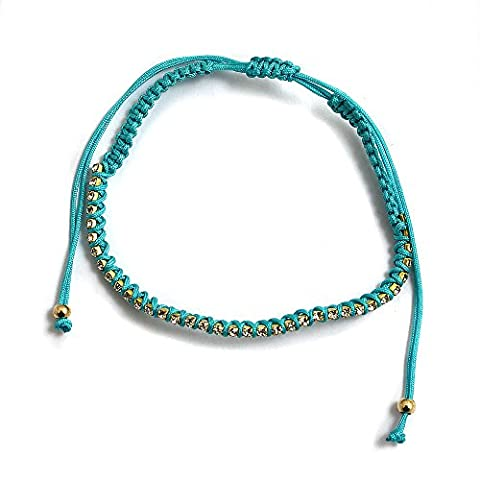 Turquoise Cord and Captive Crystal Ladies Ankle Bracelet Anklet perfect for Beach Summer Festival Season