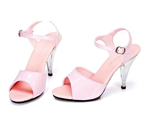 Damen Sandalen mit High Heels Stiletto Schnalle Anti-Rutsch Klassische Bequeme Lässige Damen Sandalen Pink