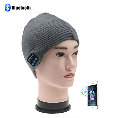 Bluetooth Wireless Music Beanie Hat, Topoint Winter Outdoor Sport Premium Knit Cap with Bluetooth 3.0+EDR+ Stereo Headphone Headset Earphone Speakers + Set-in MIC Phone Call Answer Support Apple iPhone,Android(Gray) Test