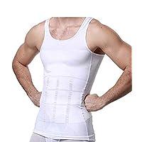 GKVNE Body Shapewear Mens Slimming Body Shaper Vest Shirt Abs Abdomen Slim Tank Top Compression Shirt Shapewear Slimming Vest for Men (L, White)