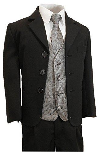 Paul Malone - Festlicher Kinderanzug (tailliert) schwarz + silber graues Hochzeit Westen Set 16
