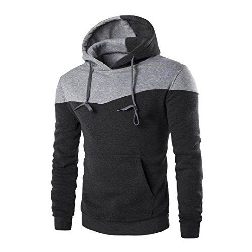 Sweatshirt Homme, Amlaiworld Hiver Sweat à Capuche Hiver Slim Sweat Capuche Chaud Veste Manteau Outwear Pull (L2, Gris foncé)