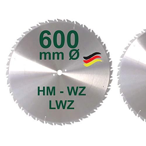 HM Sägeblatt 600 x 28 mm mit Reduzierring 30 auf 28 mm LFZ Flach-Zahn Hartmetall Widea für Brennholz Hartholz Kreissägeblatt für Wippsäge und Brennholzsäge 600mm