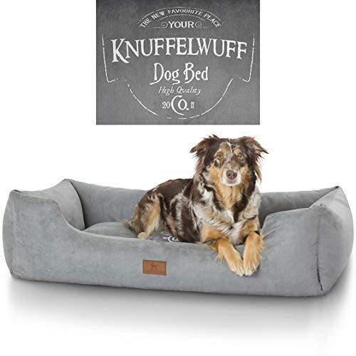 Knuffelwuff bedruckes Hundebett Liam XXL 120 x 85cm Grau
