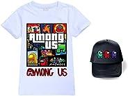 Youthera Among Us Maglietta + Regolabile Cappellini da Baseball Set, Cotone T-Shirt Manica Corta Top Cappello