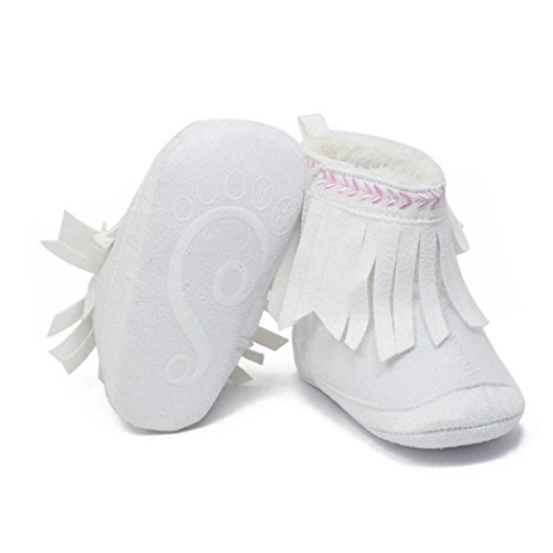 Ouneed® Krabbelschuhe , Kleinkind Säugling Neugeborene Baby Schuhe weiche Sole Aufladungen Prewalker Troddel Weiß