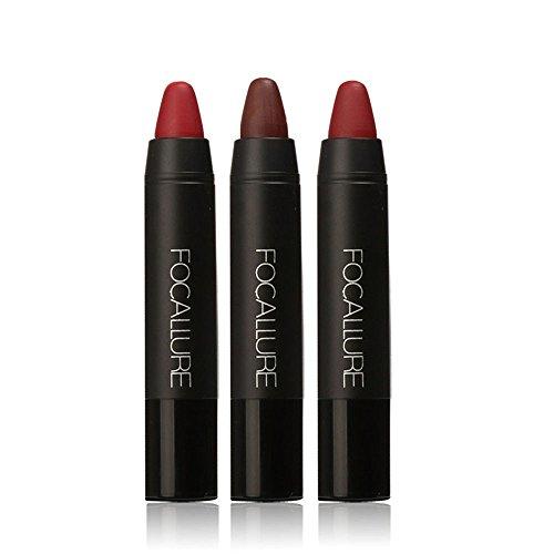 Lippenstift Matt,EUZeo 3 PC Frauen Lippenstift lang anhaltende Red Velvet Matt Farbe Bleistift Lippenstift Crayon Make-up festlegen (A1)
