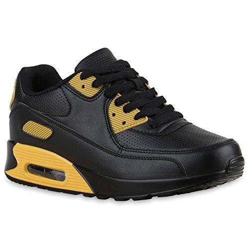 Herren Sportschuhe Leder-Optik | Sneakers Velours Glitzer | Metallic Runners | Freizeitschuhe Schnürer Black Gold
