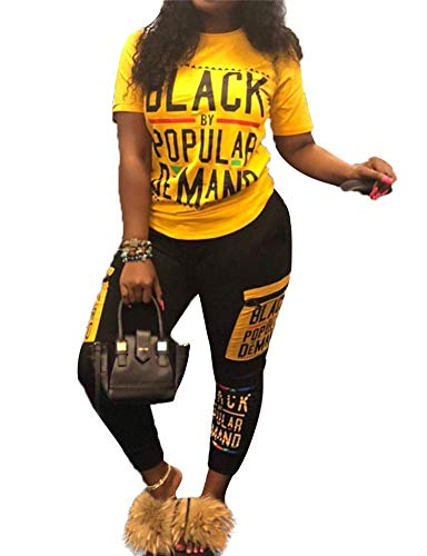 Symina Frauen Casual Sommer 2 Stück Outfits Hosen Damen Kurzarm Brief Drucken T-Shirt Tops Bodycon Lange Hosen Set