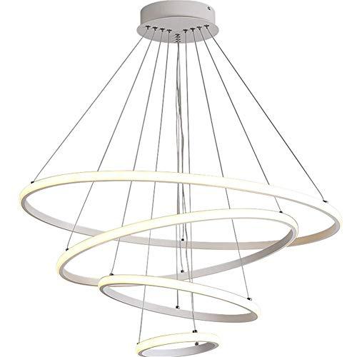 Lustre Moderne Cercle Blanc 4- Anneau Lumière Blanche Chaude LED Pendentif Plafonnier En Fer Forgé Aluminium Acrylique Suspension Lampe Pour Le Salon Chambre Salle À Manger