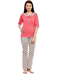 Claura Cotton Peach and white Printed 3/4th Sleeve Night Suit or Pyjama set