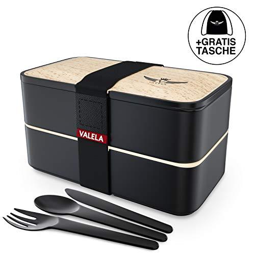 VALELA® Lunchbox - Praktische Bento Box für den Transport von Mahlzeiten - Design Brotdose für die Schule und Arbeit - Meal prep Container für Kinder & Erwachsene - inkl. Transportbeutel + E-Book Bento-box