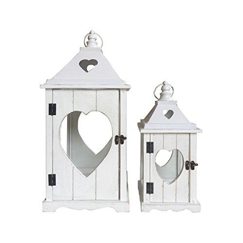 Rebecca Mobili Set 2 Lanternes decoratives Shabby, Lanterne au Sol Blanc, Metal Verre, Extérieur Intérieur - Dimensions: 58 x 26 x 26 cm (HxLxL) - Art. RE6226