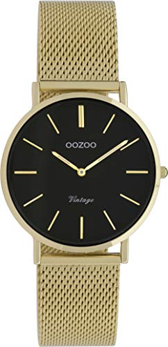 Oozoo Vintage Unisex Uhr mit massivem grobmaschigem Edelstahl Milanaise Metallband in verschiedenen Größen und Beschichtungen