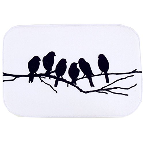 O-C Six Birds Outdoor Indoor Antiskid Absorbent Bedroom Livingroom Bath Mat Bathroom Shower Rugs Doormats