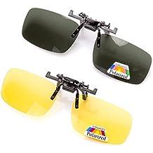 2 pares de gafas de sol unisex Clip en lentes polarizados de visión nocturna, protección UV400 antirreflectante Drivingv caza esquí Deportes al aire libre gafas de visión nocturna