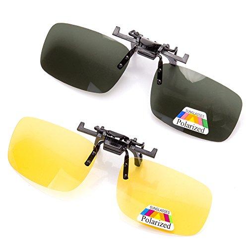 Geschmiedet Schwarz Zwei Licht (2 paar Polarisierte Linsen Klassische Clip-On Sonnenbrillen, Anti-glare Uv-schutz Fahren Angeln Schießen Sport Nachtsicht Brillen, Herren & Damen)
