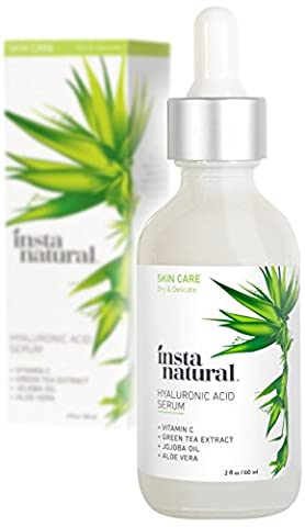 InstaNatural Hyaluronic Acid & Vitamin C Serum for Face – For Wrinkles, Crows Feet, Fine Lines & Dry Skin – With Organic, Natural & Pure Ingredients - Anti Aging Moisturizer for Men & Women – 2 OZ