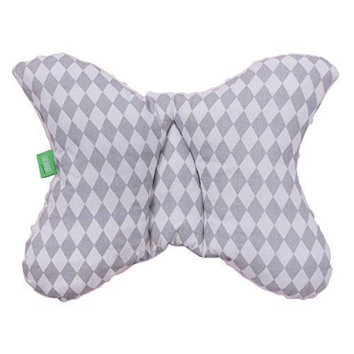 LULANDO Minky Still- und Lagerungskissen Nackenkissen (55 x 42 cm) für Babys und Erwachsene. Ideal auch für Kinder und als Reise-Kopfkissen. Farbe: Grey - Grey diamonds