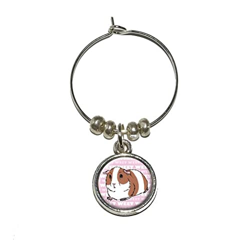 Guinea Pig - Pet Critter Pink Wine Glass Charm Drink Stem Marker Ring by Graphics and More