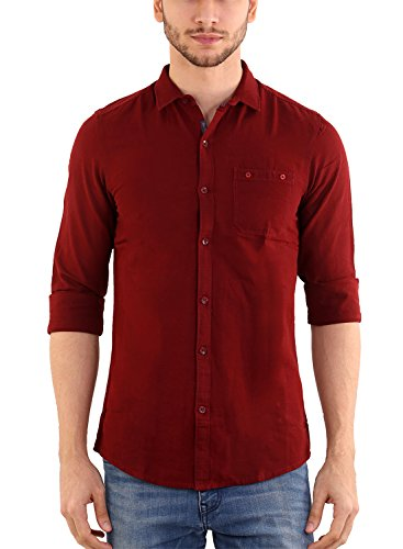 9. SHADE 45 Men's Premium designed Cotton Full Sleeve Slim fit Maroon color Plain Shirt(SHD45-00036-M)