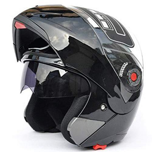 Casco integrale, tuta unisex modulare Flip Up Front ABS casco da strada casco moto m Bright Black