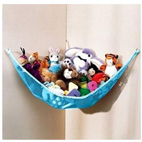 VNEIRW Dehnbar Spielzeug Hängematte Kinder Aufbewahrung Netz, Hängender Organizer, für Plüsch Kuscheltiere Groß Ecke Spielzeug Organizer für Kinderraum Schlafzimmer Badezimmer (M, Blau) (Blau-schlafzimmer-hängematten)